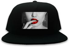 Kings Of NY Sexy Red Lips and Finger Snapback Baseball Cap Hat Cotton Black