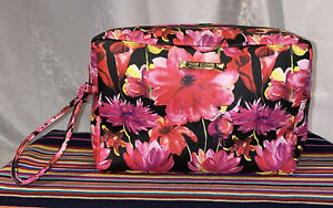 STEVE MADDEN PINK FLORAL PRINT DOUBLE ZIP COSMETIC TOILETRY VANITY BAG XL