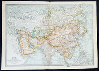 1902 The Century Company Antique Lithograph Map of Asia