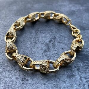 18k Gold Patterned Tulip Bracelet GF Womens Charm Perfect Gift