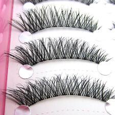 NEW Hot 10 Pairs Natural Cross False Eyelashes Black Thick Winged Eye Lashes