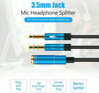 3.5mm Audio Mic Y Splitter Connect Cable Headphone Adapter Female to 2 Jack Male