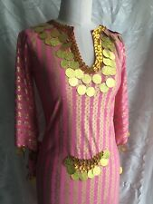 Egyptian Belly Dance Dress Saidi Costume Baladi Galabeya Pink Gold Size S/M