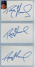 (3) BARRY MANUEL INDEX CARD SIGNED 1991-98 RANGERS EXPOS METS PSA/DNA CERTIFIED