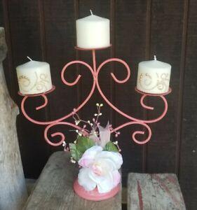 Metal Candlebra Pillar Candle Holder Blush Pink Peach Shabby Chic Wedding Decor