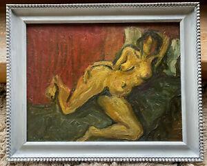 Ilio Burruni (1917-2016) Nicht s Frauen Akt.Öl/Karton. Mit Rahmen: 42,5x52,5 cm.