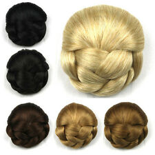 Hot Women's Braided Clip In On Hair Bun Chignon Donut Roller Hairpieces  23