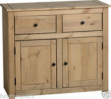 Solid Pine Natural Waxed 2 Door 2 Drawer Sideboard W93cm x D40cm x H80cm PAM