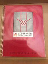 ACCURPRESS 250 Ton Press Brake User's Manual User Guide