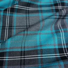 Grey & Turquoise Blue Poly-Viscose Tartan Fabric (Per Metre)