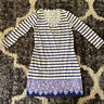 Lilly Pulitzer White And Navy Three Quarter Length Sleeve , Size Small Dress