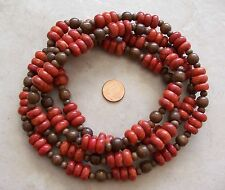"""54"""" Long Strand Red Sponge Coral Rondelle & Wood Round Beads 6mm-12mm Necklace"""