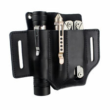 Tactical Portable Leather Belt Tool Pouch EDC Pouch for Flashlight Knife Pen Bag