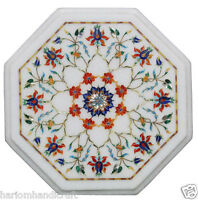 "12"" White Marble Coffee Table Carnelian Marquetry Inlaid Decorative Arts H2349"