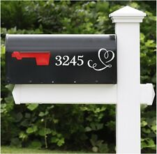 Heart & Mailbox Letters Name Number & Street Name Custom Mailbox  2 PC SET