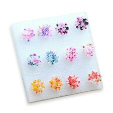 6 Pairs/Set Resin Colorful Daisy Flower Ear Stud Earrings Fashion Jewelry HD
