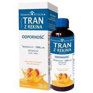 Shark liver oil mango+peach flavor 250ml  TRAN Z REKINA mango+brzoskwini 250ml