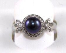 Fine Tahitian Black Pearl Solitaire Ring w/Diamond Halo 14k White Gold 7mm .10Ct