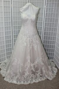 NWT ALLURE ROMANCE 2917 Size 14 Ivory Lace/Champagne Bridal wedding Gown