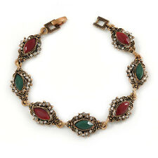 Vintage Inspired Turkish Style Crystal, Acrylic Bracelet In Bronze Tone (Green,