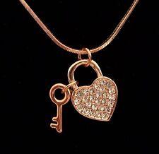 Farbe Rosegold - Collier Kette 44 cm + Anhänger Herz + Schlüssel - Kristalle NEU