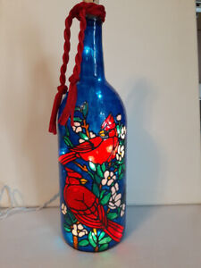 Cardinals Inspired Bottle Lamp Stained Glass Look Hand Painted Lighted