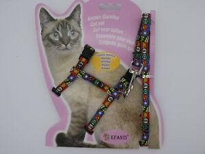 (H038) Cat Kitten Adjustable Harness & Lead Set Super Hero Pattern