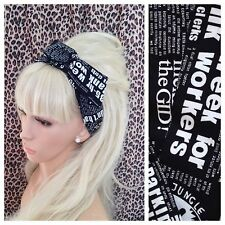 BLACK WHITE NEWSPAPER WORD NOVELTY RETRO PRINT BENDY WIRE WIRED HAIR HEAD BAND
