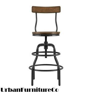Industrial Metal Bar Stool Height Adjustable Swivel Kitchen Chair Backrest New