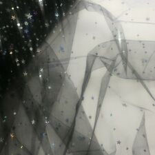 "Sparkling Glimmering Star Shape Sequin Soft Tulle  54"" inch Width UK Seller"