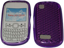 Pattern Gel Case Cover Protector Pouch For Nokia Asha 201 / 2010 Purple New UK