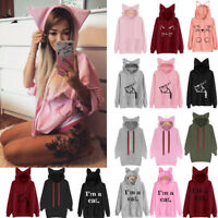 Women Casual Cat Hoodie Sweatshirt Ladies Hooded Tops Jumper Pullover Shirt Coat