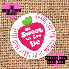 Personalised 24 pink strawberry party bag stickers sweet cone labels girl