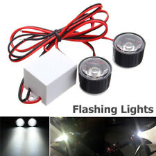 2Pcs 12V Motorcycle Rearview Mirror Eagle Eye LED Flash Strobe Lights Lamp White