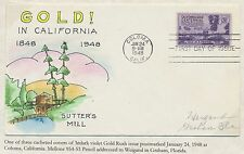 "#954 ""GOLD RUSH"" ON WEIGAND FDC HANDPAINTED CACHET BS2946"
