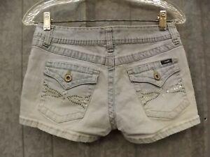 Angels Jeans EUC Washed Denim Rhinestone Studded Jeans Short Shorts Jr Miss Sz 9