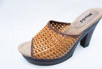 MUDD womens CREATE Tan Busket Weaved platform heels sandals 7 7.5 9 9.5 NEW
