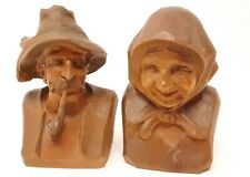 Heinzeller Oberammergau Wood Carved Black Forest Old Man Pipe Woman Germany