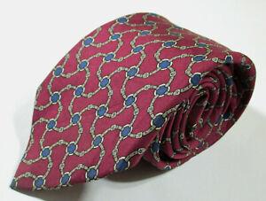 Hermes Paris 964 SA Link Pattern Red Color Twill Silk Necktie Tie