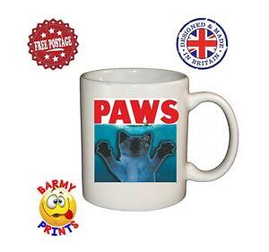 M096 JAWS PAWS  CAT LOVER FUNNY RUDE CHEEKY MUG CHRISTMAS BIRTHDAY GIFT