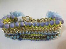 Ann Taylor LOFT Blue Lime Crystal Gold link Fringe Bead Bracelet NWT $29.5 Set 2