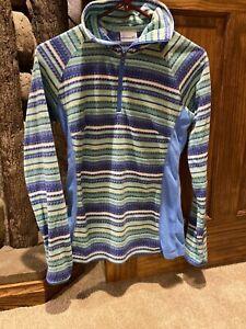 Columbia Fleece Jacket Sweatshirt Size XS 1/4 Zip Women's Blue Striped NWOT