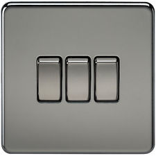 SCREWLESS 10A 3G GANG 2 WAY LIGHT SWITCH - BLACK NICKEL FINISH