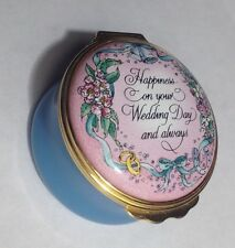 Halcyon Days Enamel Box - Happiness On Your Wedding Day