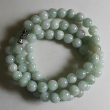 7.5m Certified Natural Untreated Light Green Jadeite Jade Round Beads Necklace