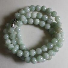8m Certified Natural Untreated Light Green Jadeite Jade Round Beads Necklace