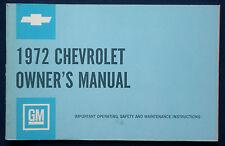 Owner's manual * Manuel 1972 CHEVROLET IMPALA * Caprice * Bel Air USA