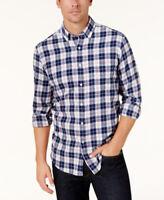 Club Room Navy Blue Men's Plaid Flannel Button-Down Long Sleeve Shirt - XL