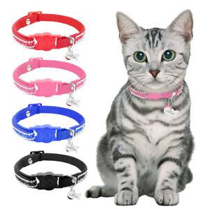 Breakaway Nylon Personalized Cat Dog Collar Custom Puppy Kitten Name ID Tag XS-S