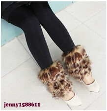 Popular faux fur funky leg warmers boots cover dance shoes cover leopard print